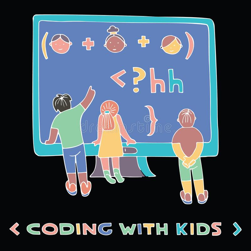 Coding similar. Children in front of the computer screen, watching formula. Lettering Coding With Kids. Coding for kids articles and sites. Programming education vector illustration