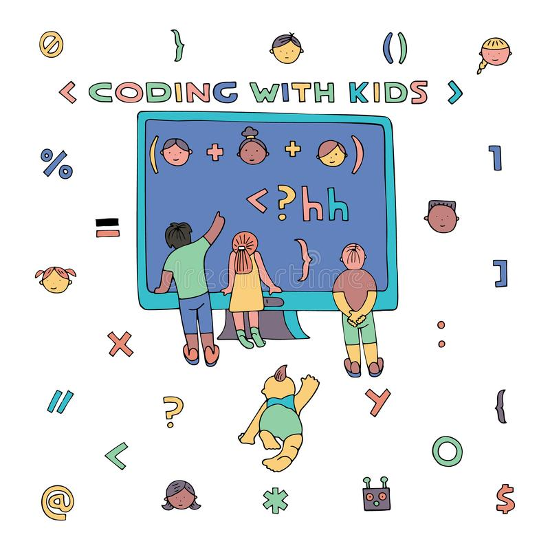 Coding similar. Children in front of the computer screen, watching formula. Lettering Coding With Kids. Coding for kids articles and sites. Programming education stock illustration