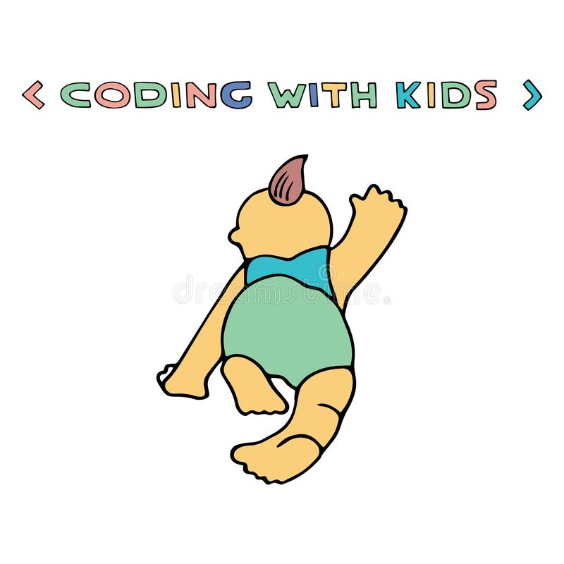 Coding similar. Children coding illustration. Coding for kids articles and sites. Programming education stock illustration