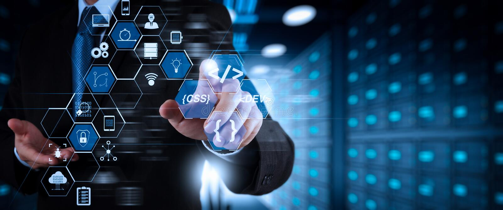 Coding software developer work with augmented reality dashboard computer stock image