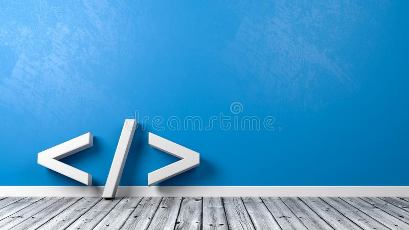 Coding Symbol in the Room with Copyspace vector illustration