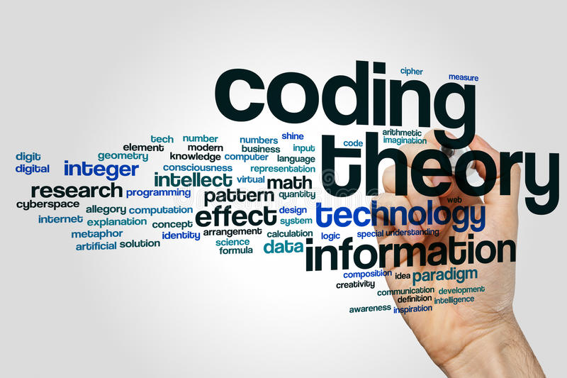 Coding theory word cloud concept on grey background vector illustration