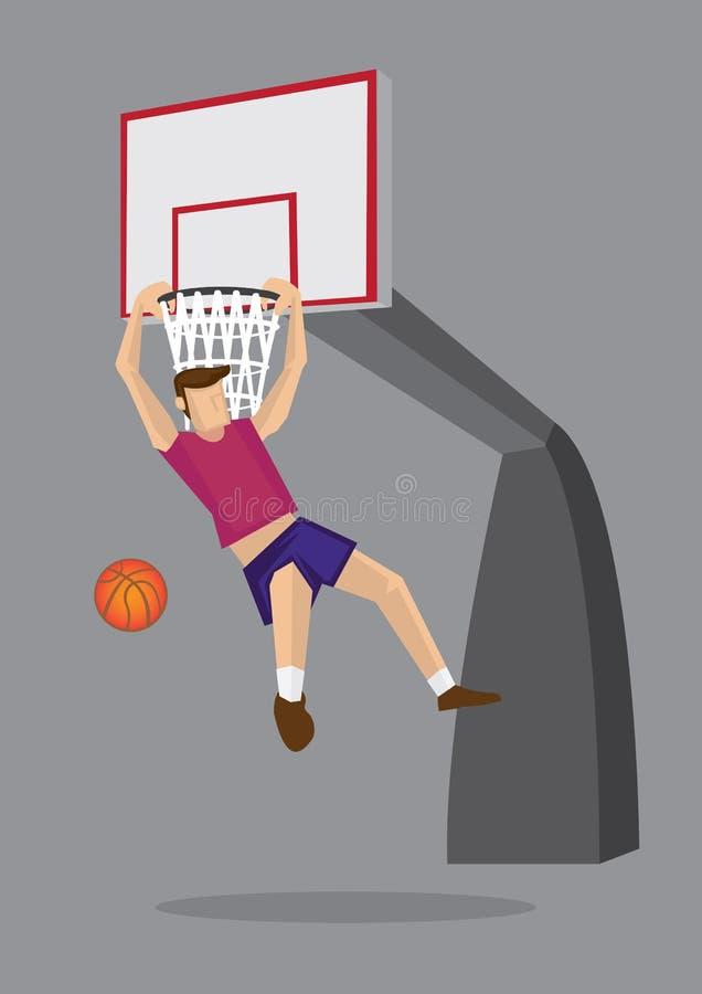 Codo Hang Dunk Vector Illustration del jugador de básquet stock de ilustración