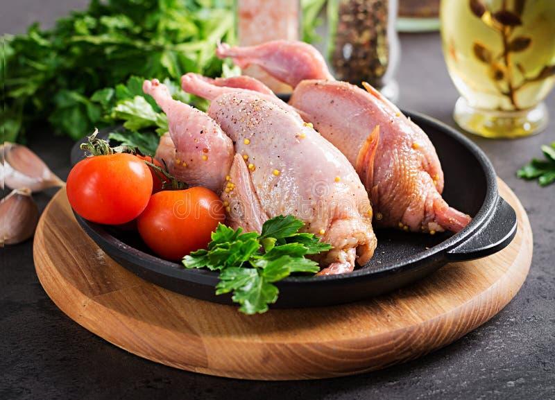 Codornices crudas crudas Ingredientes para cocinar la cena sana de la carne foto de archivo libre de regalías