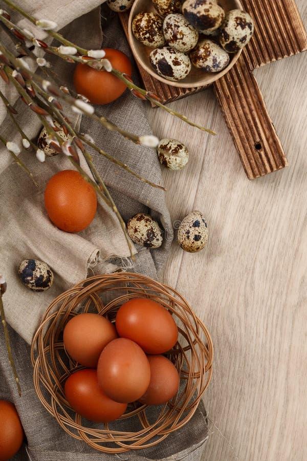 Codorniz e ovos da galinha com ramos do salgueiro imagens de stock royalty free