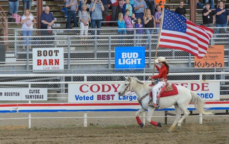 Cody-Nachtrodeoshow Wyoming lizenzfreie stockfotografie
