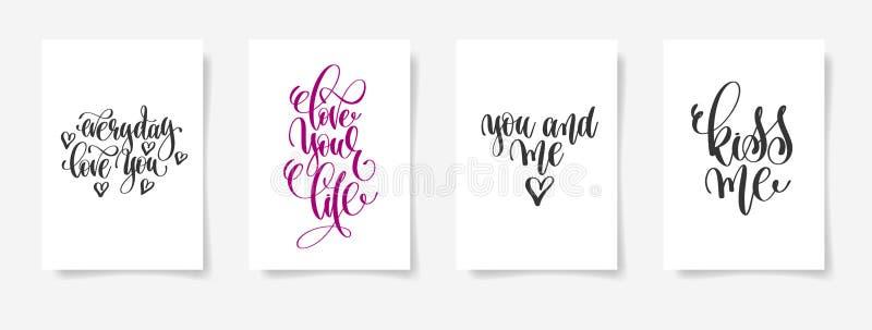 Codzienna miłość ty, kochasz twój życie, ty i ja, całuje ja ilustracja wektor