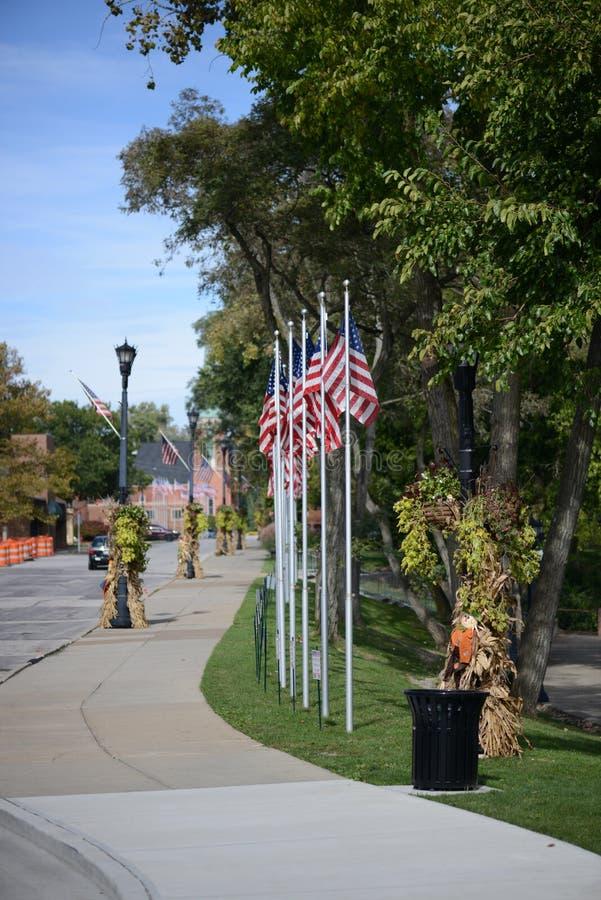 Coe See - Berea - Cleveland - Ohio - amerikanische Flaggen lizenzfreie stockbilder