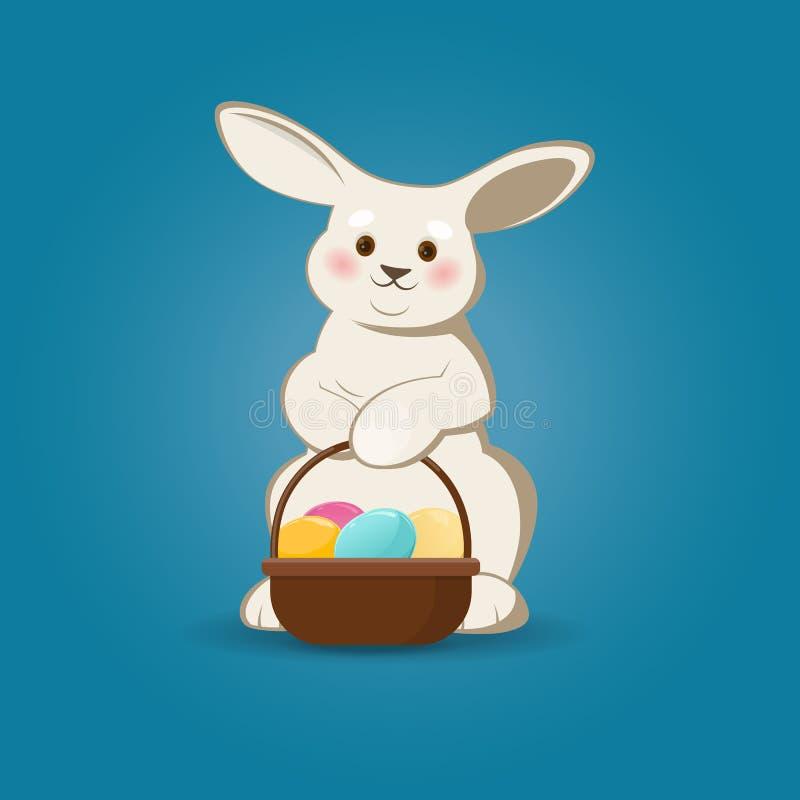 Coelhinho da Páscoa bonito com cesta dos ovos da páscoa ilustração stock
