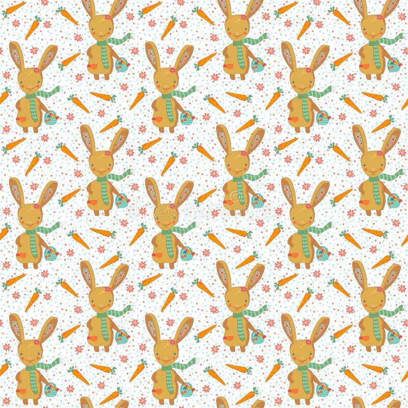 Coelhinho da Páscoa bonito com teste padrão sem emenda das cenouras ilustração stock
