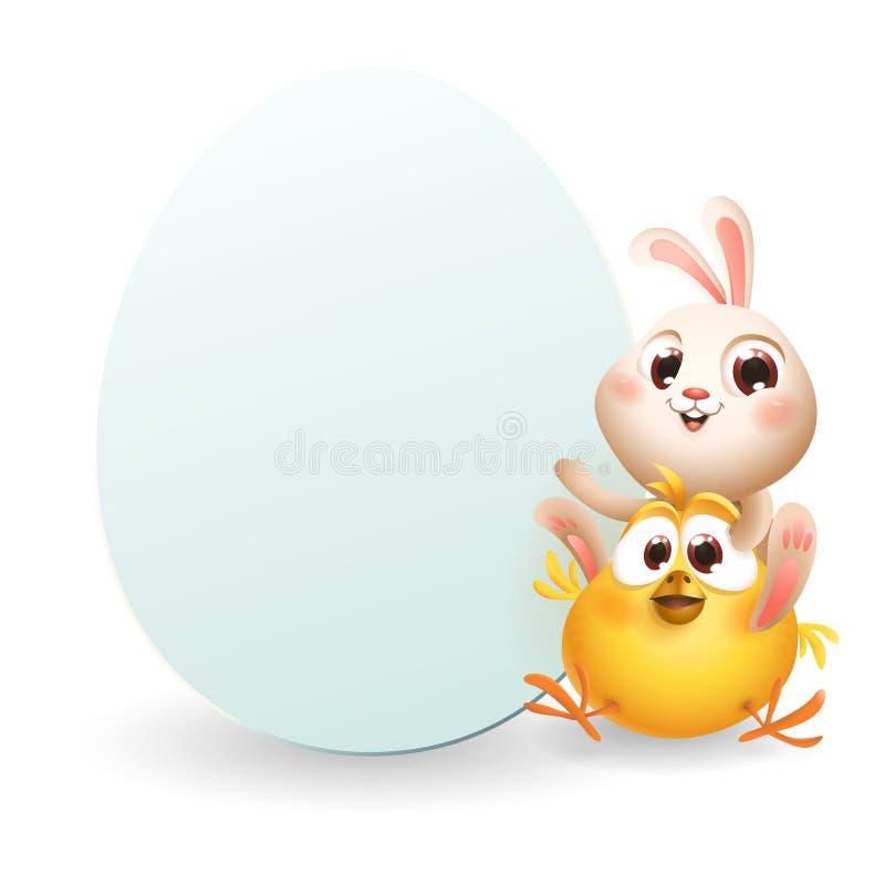 Coelhinho da Páscoa bonito e galinha do bebê com placa da forma do ovo - molde no fundo isolado branco ilustração stock
