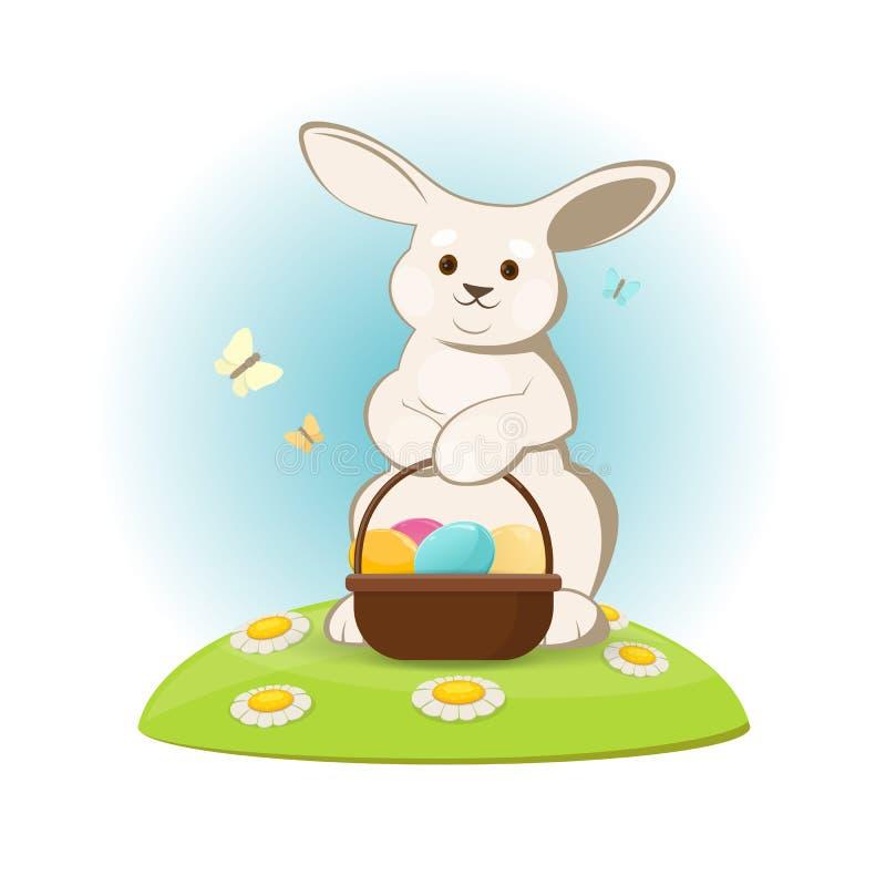 Coelhinho da Páscoa bonito no gramado com cesta dos ovos da páscoa ilustração stock