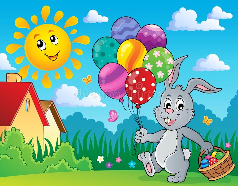Coelhinho da Páscoa com imagem 3 dos balões ilustração do vetor