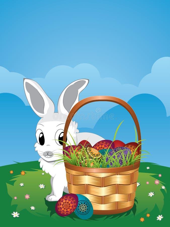 Coelhinho da Páscoa com os ovos na cesta ilustração royalty free