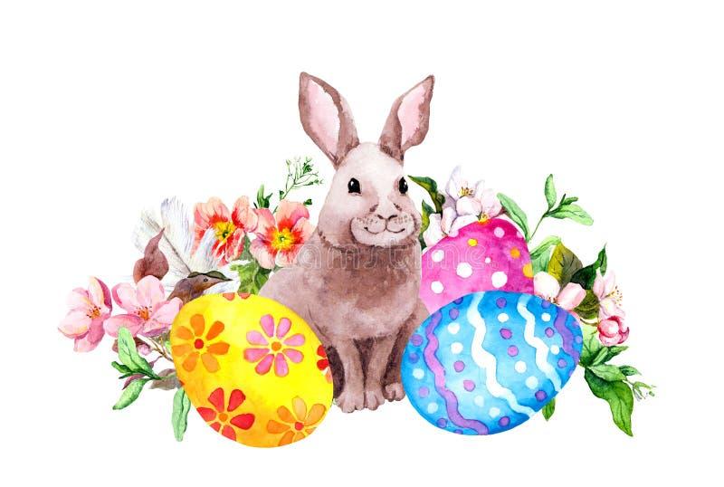 Coelhinho da Páscoa com ovos coloridos, grama, flores, penas watercolor ilustração stock