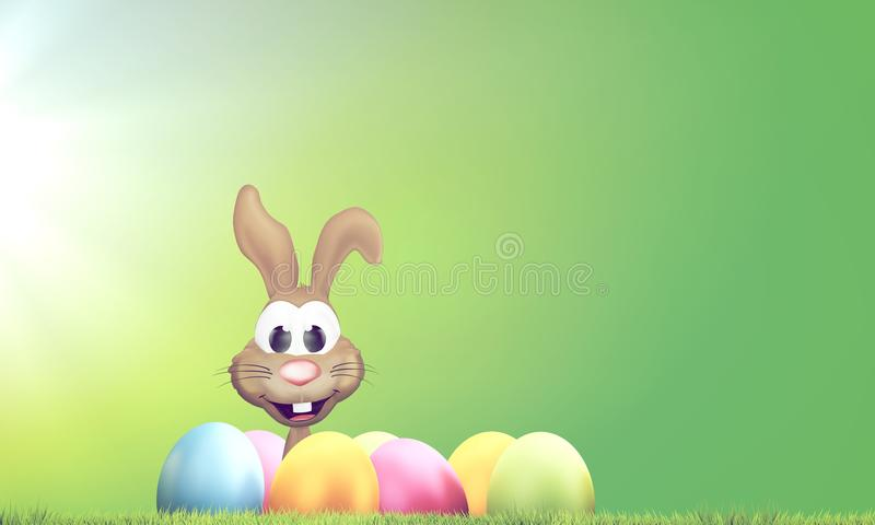 Coelhinho da Páscoa com ovos da páscoa e rendição verde do gramado 3D ilustração do vetor