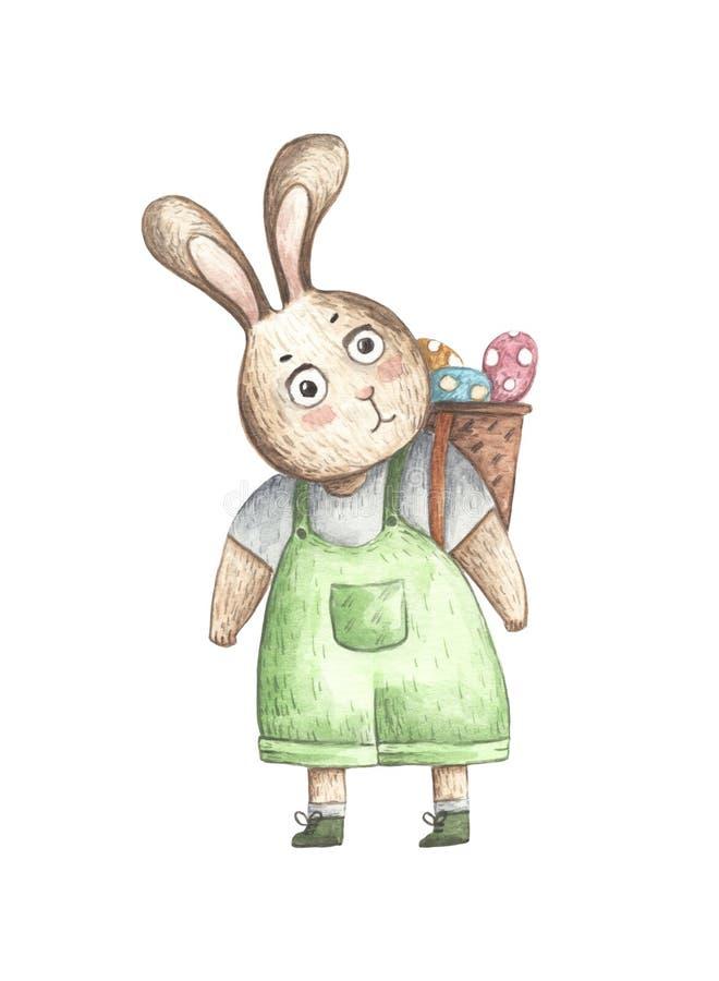 Coelhinho da Páscoa com uma cesta completamente dos ovos na parte traseira ilustração stock