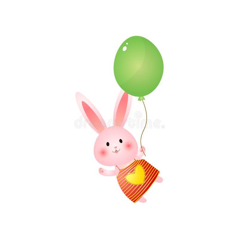 Coelhinho da Páscoa cor-de-rosa bonito com o balão isolado no fundo branco ilustração royalty free