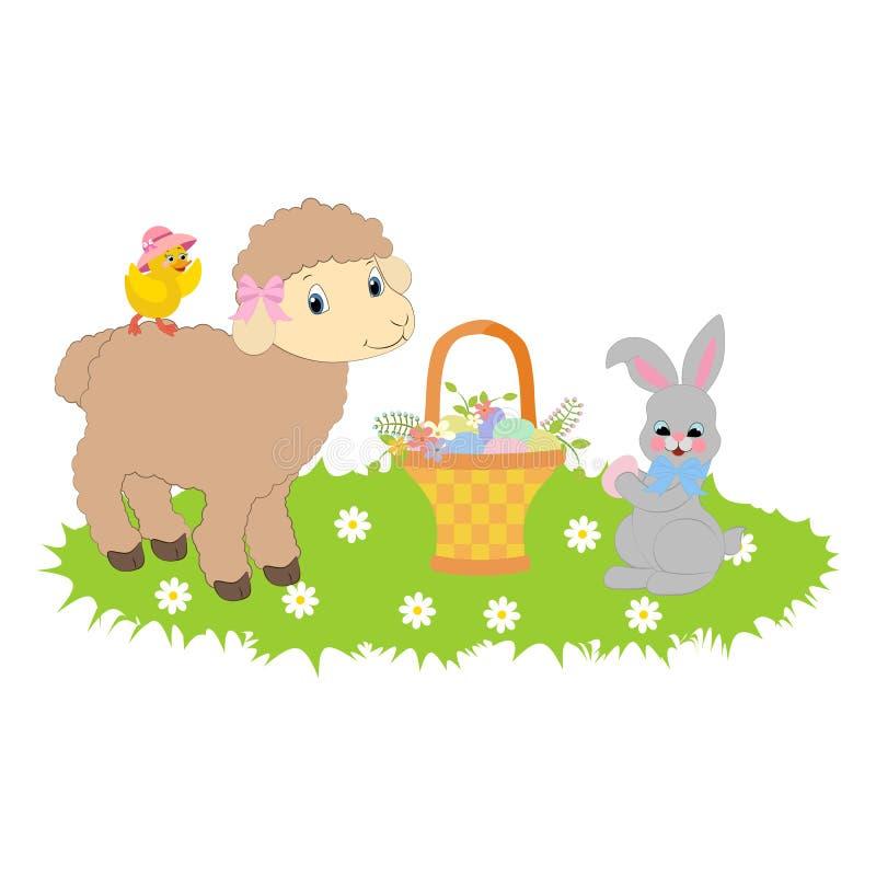 Coelhinho da Páscoa e cordeiro ilustração stock