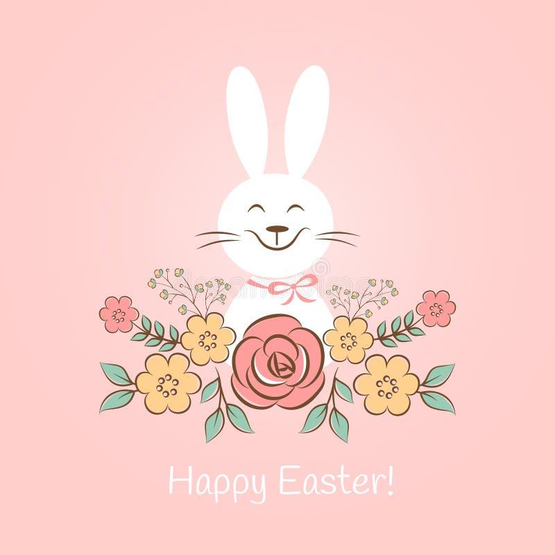 Coelhinho da Páscoa feliz com flores ilustração do vetor