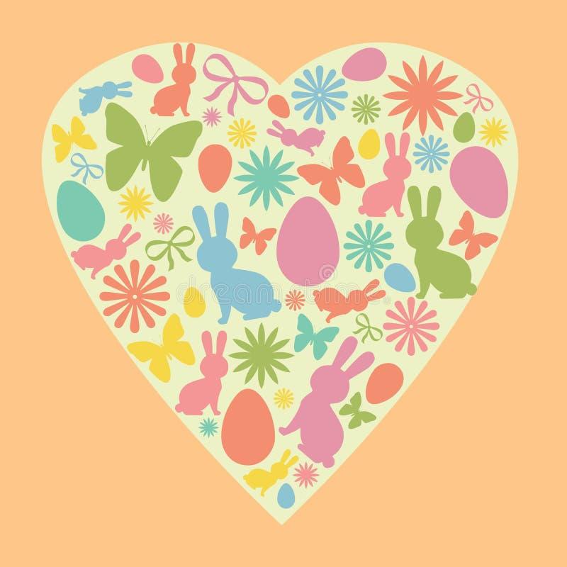 Coelhinho da Páscoa, ovo, flores e silhuetas da borboleta dadas forma como um coração Silhuetas bonitos da Páscoa do vetor nas co ilustração royalty free