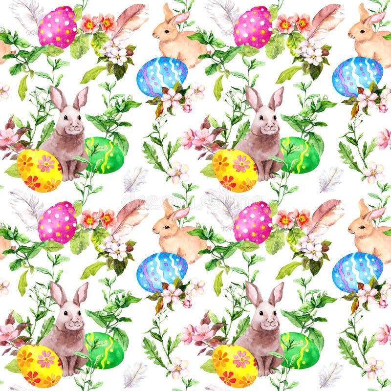 Coelhinho da Páscoa, ovos coloridos na grama e flores Repetindo o fundo floral de easter watercolor ilustração do vetor