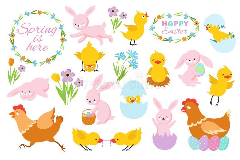 Coelhinho da Páscoa, pintainhos e flores da mola Coelhos, galinhas do bebê e ovos engraçados Grupo do vetor da mola de easter dos ilustração stock