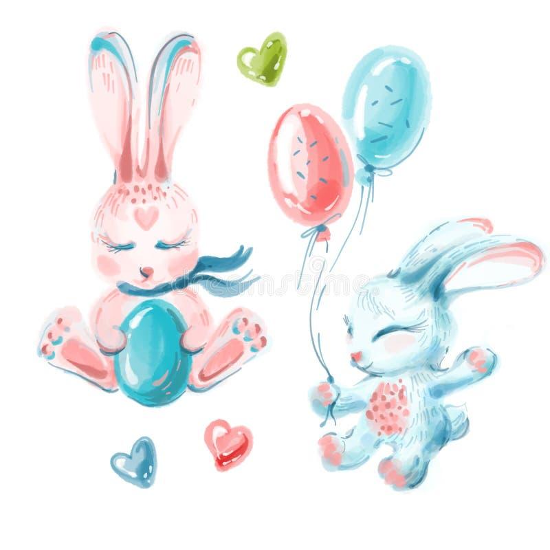 Coelhinhos da Páscoa bonitos que assentam, ovo da terra arrendada do coelho e coelho com balões fotos de stock