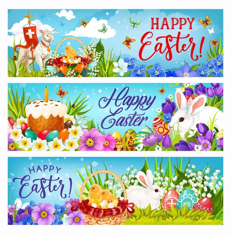 Coelhinhos da Páscoa com ovos, flores e pintainhos ilustração stock