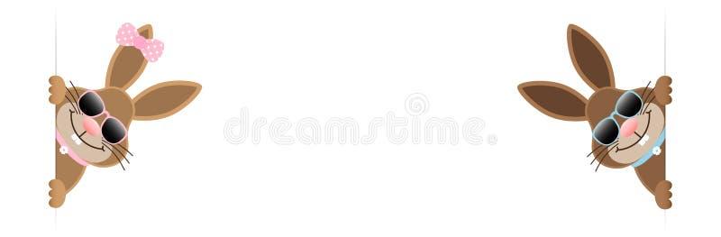 Coelhinhos da Páscoa menino da bandeira dois e óculos de sol da menina para dentro ilustração stock