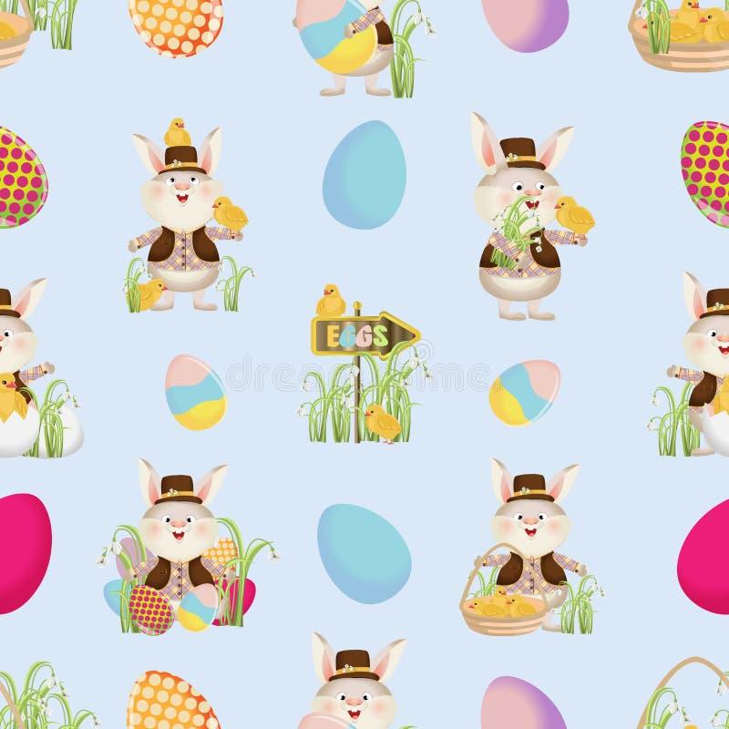Coelhinhos da Páscoa nas camisas, as vestes e os chapéus, as galinhas, os ovos, os ponteiros e a grama Teste padrão sem emenda ilustração do vetor