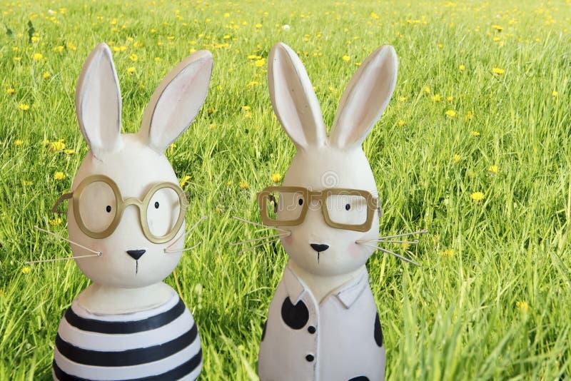 Coelhinhos da Páscoa no prado da mola foto de stock