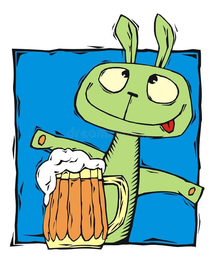 Coelho bêbedo com uma caneca de cerveja ilustração royalty free