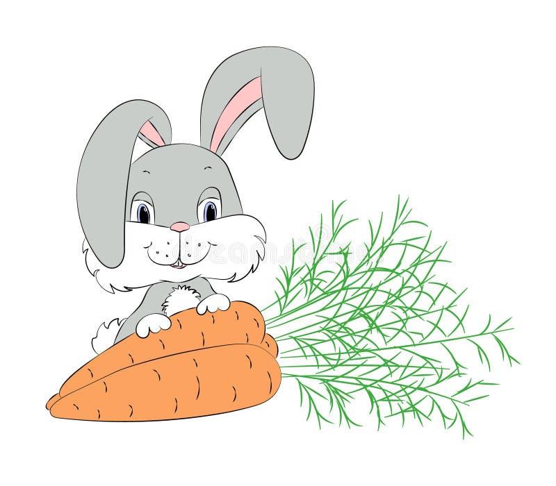 Coelho bonito com cenouras ilustração stock