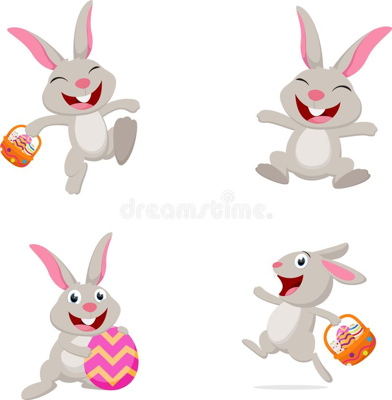 Coelho bonito com grupo da coleção dos desenhos animados do ovo da páscoa fotografia de stock royalty free