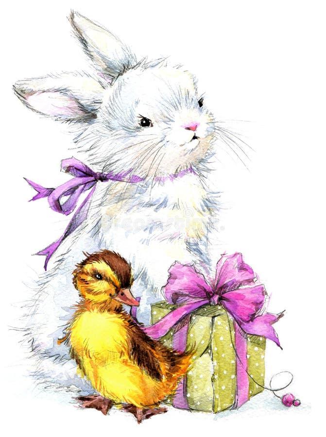 Coelho bonito da aquarela e pássaro, presente e fundo pequenos das flores ilustração royalty free
