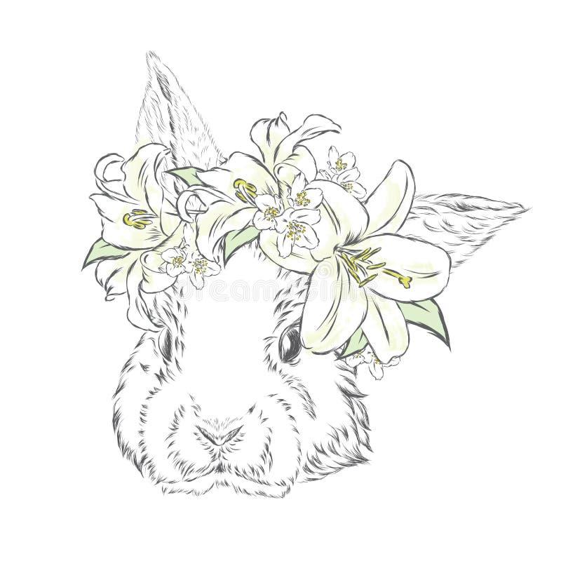 Coelho bonito em uma grinalda das flores Vetor do coelho ilustração do vetor