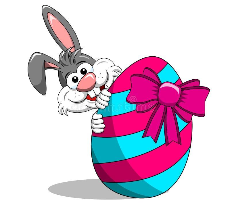 Coelho bonito ou auge do coelho uma vaia atrás do ovo pintado com isolador da curva ilustração do vetor