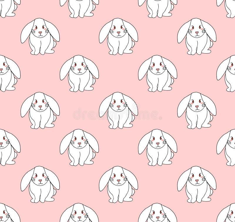 Coelho branco bonito na luz - fundo cor-de-rosa Ilustração do vetor ilustração royalty free