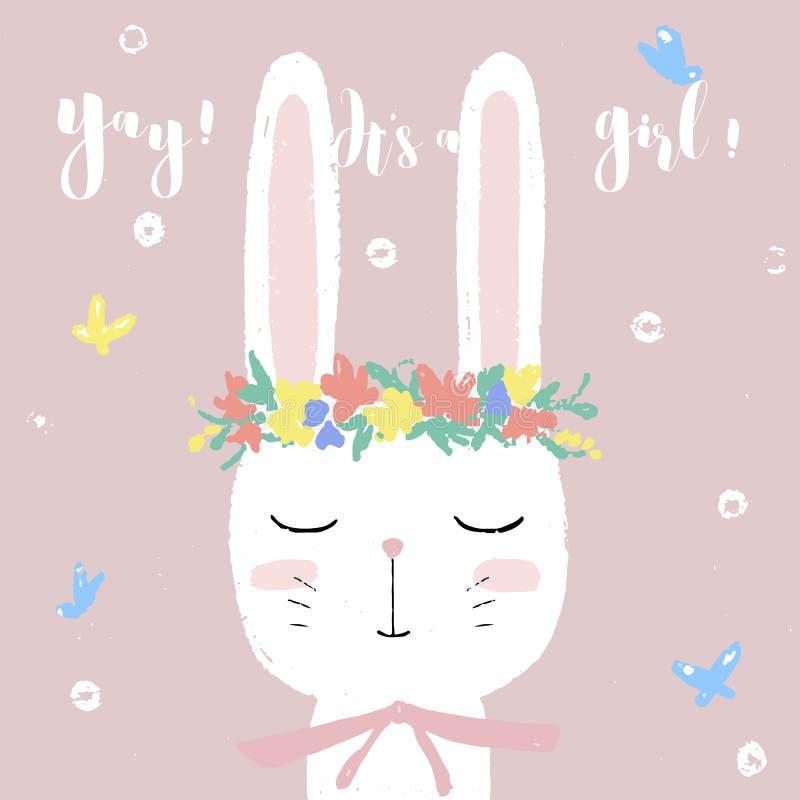 Coelho branco bonito no convite do cartão da festa do bebê, molde do projeto ilustração do vetor