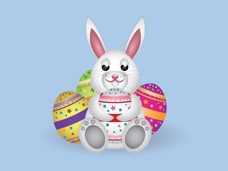 Coelho branco com ovos da páscoa ilustração stock