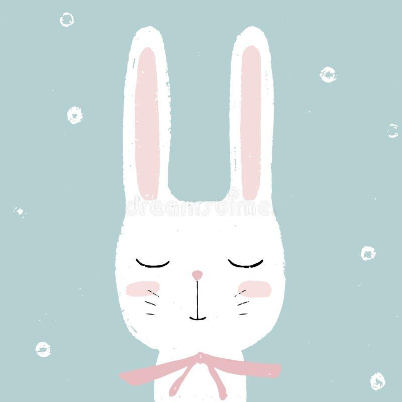Coelho branco pequeno bonito do coelho Entregue o cartão tirado do vetor, ilustração para crianças Páscoa, festa do bebê, anivers ilustração royalty free