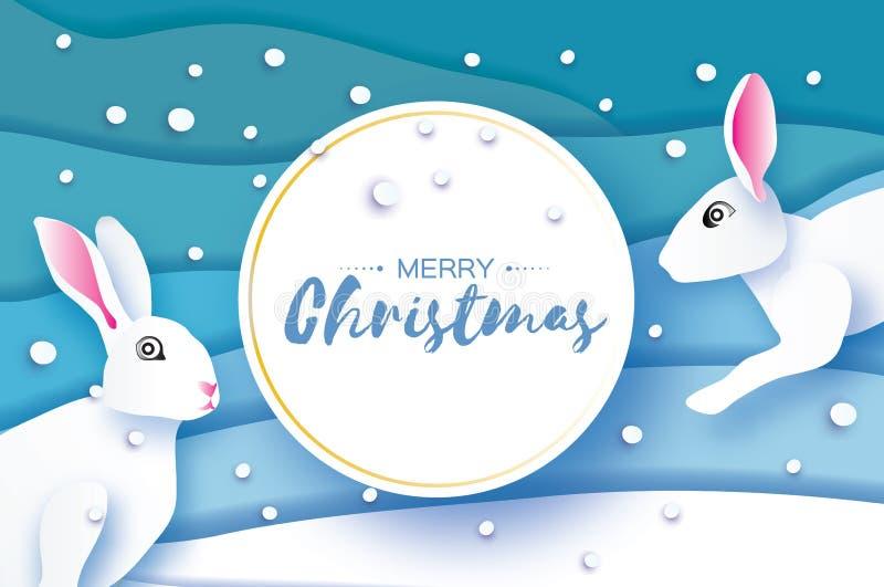 Coelho branco Pouco coelho no estilo do corte do papel , Ano novo feliz e Feliz Natal Paisagem do azul do origâmi Inverno ilustração do vetor