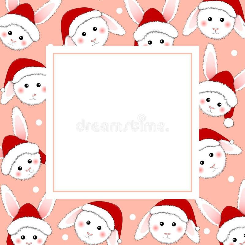 Coelho branco Santa Claus no cartão cor-de-rosa da bandeira Ilustração do vetor ilustração do vetor