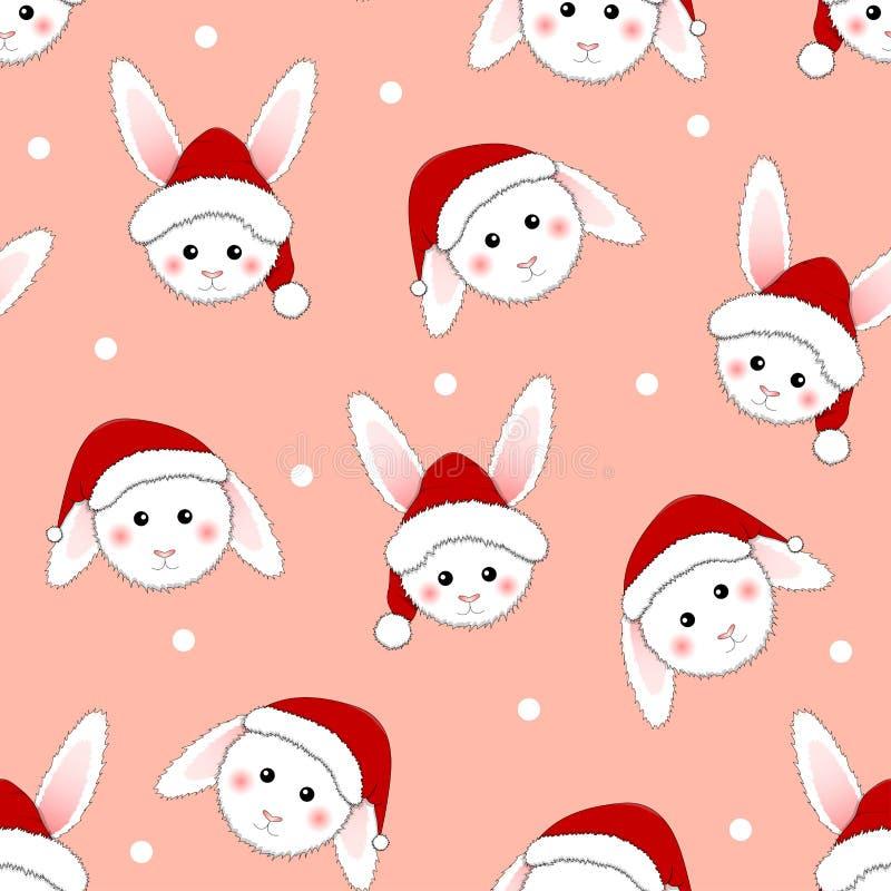Coelho branco Santa Claus no fundo cor-de-rosa Ilustração do vetor ilustração royalty free