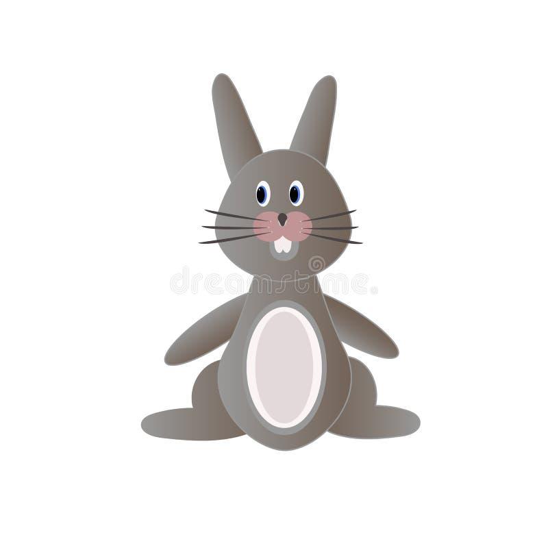 Coelho cinzento bonito sob a forma dos brinquedos ilustração stock