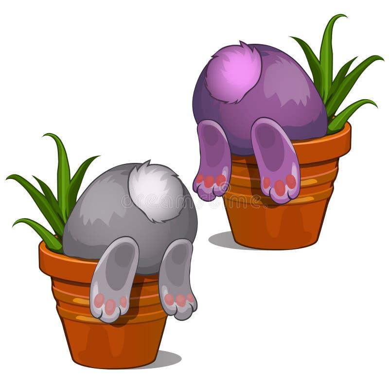 Coelho cinzento e cor-de-rosa que procura algo no potenciômetro de flor Parte traseira e cauda da opinião do coelho Vetor isolado ilustração stock