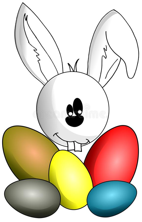 Coelho com ovos da páscoa ilustração royalty free