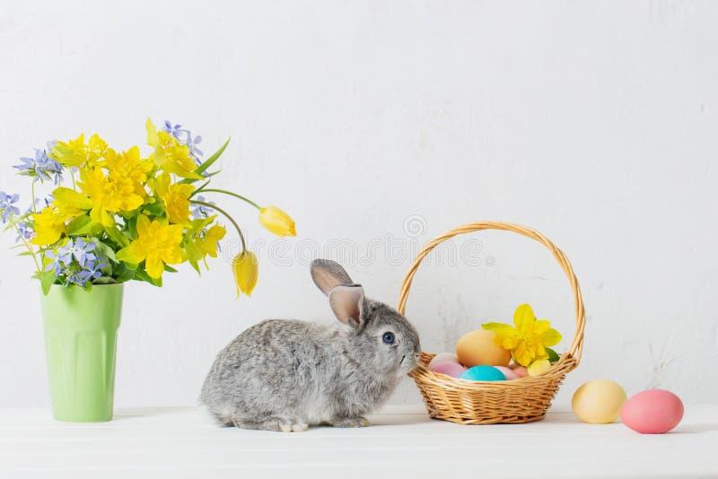 coelho com ovos da páscoa e flores imagens de stock