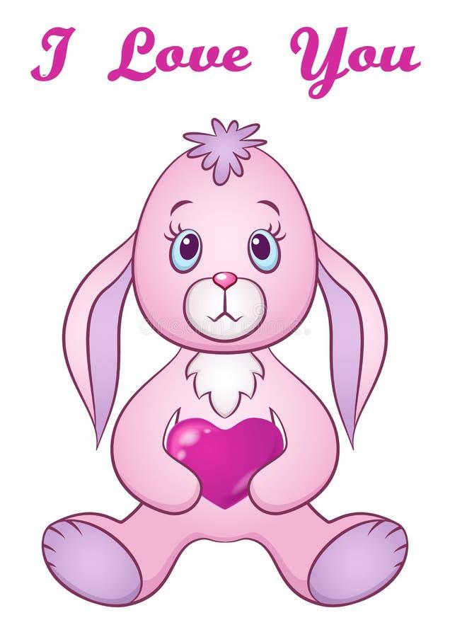 Coelho com Valentine Heart ilustração stock